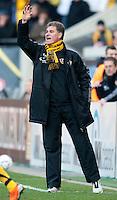Fussball, 2. Bundesliga, Saison 2011/12, SG Dynamo Dresden - FC Energie Cottbus, Sonntag (11.12.11), gluecksgas Stadion, Dresden. Dresdens Trainer Ralf Loose gestikuliert.