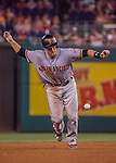 6 August 2016: San Francisco Giants catcher Buster Posey dodges an infield grounder advancing him to third in a game against the Washington Nationals at Nationals Park in Washington, DC. The Giants defeated the Nationals 7-1 to even their series at one game apiece. Mandatory Credit: Ed Wolfstein Photo *** RAW (NEF) Image File Available ***