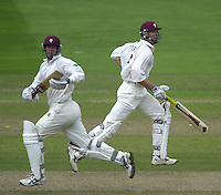 Photo Peter Spurrier.31/08/2002.Cheltenham & Gloucester Trophy Final - Lords.Somerset C.C vs YorkshireC.C..Somerset batting Keith parsons and Ian Blackwell; .