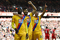 Crystal Palace's Christian Benteke celebrates scoring his sides second goal <br /> <br /> Photographer Terry Donnelly/CameraSport<br /> <br /> The Premier League - Liverpool v Crystal Palace - Sunday 23rd April 2017 - Anfield - Liverpool<br /> <br /> World Copyright &copy; 2017 CameraSport. All rights reserved. 43 Linden Ave. Countesthorpe. Leicester. England. LE8 5PG - Tel: +44 (0) 116 277 4147 - admin@camerasport.com - www.camerasport.com