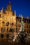 Stadhuis - Town Hall with Brado Fountain, Antwerp, Belgium, Europe