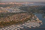 Seattle skyline with Shilshole Marina along the Puget Sound