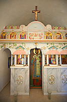 Interior & Icons of a small orthodox chapel in north West Chios Island Greece.