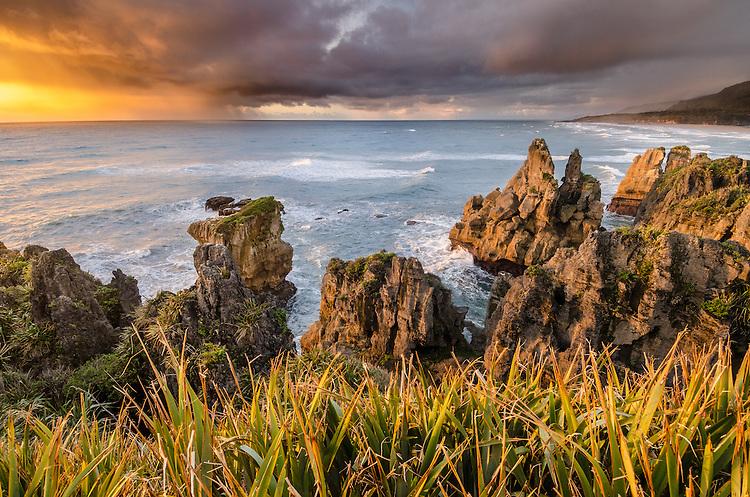 Punakaiki Beach, Sunset, West Coast, South Island, New Zealand - stock photo, canvas, fine art print