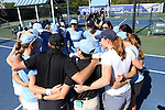 24 April 2016: UNC players and coaches huddle before the match. The University of North Carolina Tar Heels played the University of Miami Hurricanes at the Cary Tennis Center in Cary, North Carolina in the Atlantic Coast Conference Women's Tennis Tournament Championship. North Carolina won the match 4-2.