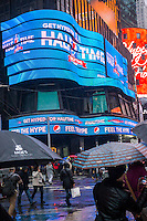 Pepsi-Cola promotion for Super Bowl XLVIII, held at Met Life Stadium in NJ on February 2, 2014, is seen in Times Square in New York on Sunday, December 29, 2013. Despite the game being held in New Jersey sports fans are expected to pack New York to take part in the multitude of activities planned around the game.  (© Richard B. Levine)