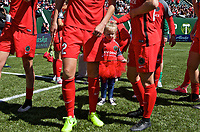 Portland, OR - Saturday April 15, 2017:  Mark Parsons daughter Edie on the field with the team after a regular season National Women's Soccer League (NWSL) match between the Portland Thorns FC and the Orlando Pride at Providence Park.