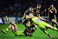 Jimmy Gopperth of Wasps takes on the Leicester Tigers defence. Aviva Premiership match, between Wasps and Leicester Tigers on January 8, 2017 at the Ricoh Arena in Coventry, England. Photo by: Patrick Khachfe / JMP