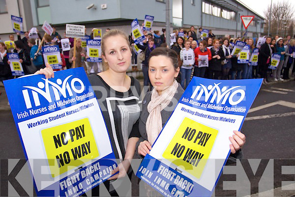 Student Nurses Cara Buckly, Castlegregory and Sinead Daly Baradubh Protesting against cutting off payment for forth year nursing students at Kerry General Hospital on Wednesday.