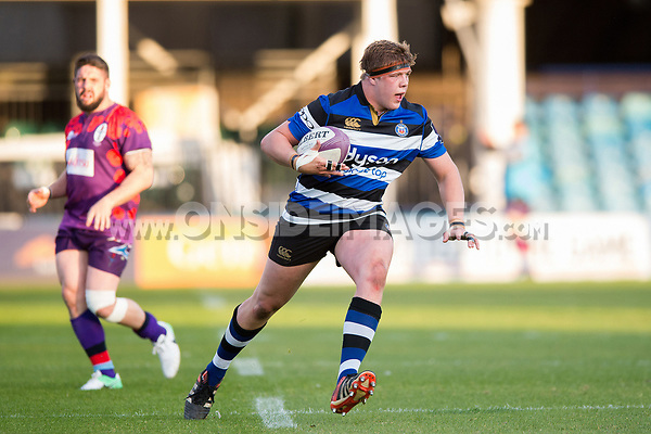 Sam Nixon of Bath United in possession. Remembrance Rugby match, between Bath United and the UK Armed Forces on May 10, 2017 at the Recreation Ground in Bath, England. Photo by: Patrick Khachfe / Onside Images