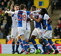 Blackburn Rovers' Lucas Joao (centre) is mobbed after scoring the equalising goal (1-1)<br /> <br /> Photographer David Shipman/CameraSport<br /> <br /> The EFL Sky Bet Championship - Norwich City v Blackburn Rovers - Saturday 11th March 2017 - Carrow Road - Norwich<br /> <br /> World Copyright &copy; 2017 CameraSport. All rights reserved. 43 Linden Ave. Countesthorpe. Leicester. England. LE8 5PG - Tel: +44 (0) 116 277 4147 - admin@camerasport.com - www.camerasport.com