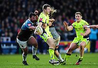 Sam James of Sale Sharks looks to offload the ball. Aviva Premiership match, between Harlequins and Sale Sharks on January 7, 2017 at the Twickenham Stoop in London, England. Photo by: Patrick Khachfe / JMP