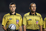 Match Referee Tony Crush (l) with Fourth Official Saeed Mohamed (r) on Friday, October 21st, 2005 at Koskinen Stadium in Durham, North Carolina. The Duke University Blue Devils defeated the North Carolina State University Wolfpack 6-0 during an NCAA Division I Men's Soccer game.