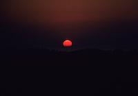 Sunset on the island of Roatan, Bay Islands, Honduras in 1991.