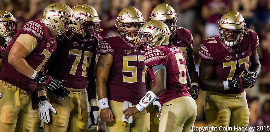 TALLAHASSEE, FLA. 9/5/15-Florida State University quarterback Everett Golson calls a play in the huddle during first half action against Texas State University at Doak Campbell Stadium in Tallahassee.<br /> <br /> COLIN HACKLEY PHOTO