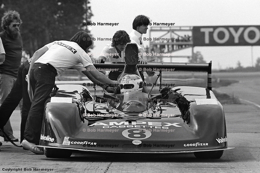 Bobby Rahal sits in the pit lane in the U.S. Racing Prophet Chevrolet during the 1980 SCCA Can-Am race at Watkins Glen, New York, USA.