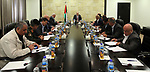 Palestinian Prime Minister Rami Hamdallah chairs a meeting of security chiefs, in the West Bank city of Ramallah, on April 10, 2017. Photo by Prime Minister Office
