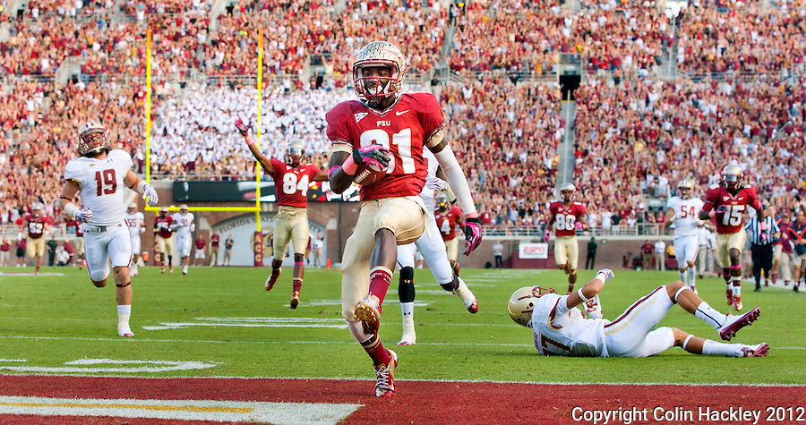 TALLAHASSEE, FL 10/13/12 FSU-BC1013012 CH -Florida State's Kenny Shaw dances into the endzone after a 77-yard pass for the Seminole's first touchdown against Boston College during first half action Saturday at Doak Campbell Stadium in Tallahassee. .COLIN HACKLEY PHOTO