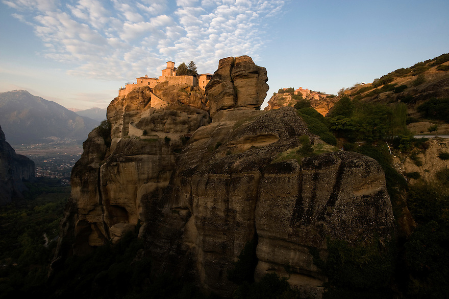 Greece, Meteora, Varlaam Monastery in sunrise