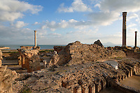 Low angle view of the Frigidarium columns of the Antonine Baths, Carthage, Tunisia, pictured on January 28, 2008, in the afternoon. Carthage was founded in 814 BC by the Phoenicians who fought three Punic Wars against the Romans over this immensely important Mediterranean harbour. The Romans finally conquered the city in 146 BC. Subsequently it was conquered by the Vandals and the Byzantine Empire. Today it is a UNESCO World Heritage. Founded in the 2nd Century by the Emperor Hadrian and completed by Antoninus Pius, the Antonine Baths were the largest outside the ancient city of Rome. Today, the basement, furnaces and fragments of carved and inscribed masonry remain of the highly complex structure, which included the Caldaria and Frigidarium (hot and cold baths). Picture by Manuel Cohen.