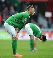 FUSSBALL   1. BUNDESLIGA   SAISON 2011/2012   32. SPIELTAG SV Werder Bremen - FC Bayern Muenchen               21.04.2012 Marko Arnautovic (vorn)  und Aleksandar Stevanovic (hinten, beide SV Werder Bremen) sind nach dem Abpfiff enttaeuscht