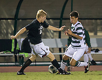 The number 5 ranked Charlotte 49ers play the University of South Carolina Gamecocks at Transamerica field in Charlotte.  Charlotte won 3-2 in the second overtime.  Nick Barnhorst (14), Braeden Troyer (13)