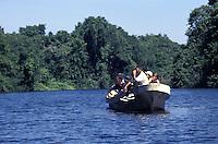 Tourist launch in the Cuero y Salado Wildlife Refuge near La Ceiba, Honduras