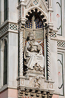Cathedral Santa Maria del Fiore, Florence, Italy , also known as the Duomo, begun in 1296 by Arnolfo di CAMBIO, dome by Filippo BRUNELLESCHI, 1377-1446, completed in 1436. Detail of sculpture on the facade pictured on June 8 2007.