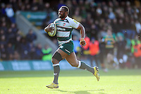 Vereniki Goneva of Leicester Tigers runs in a first half try. Aviva Premiership match, between Northampton Saints and Leicester Tigers on April 16, 2016 at Franklin's Gardens in Northampton, England. Photo by: Patrick Khachfe / JMP