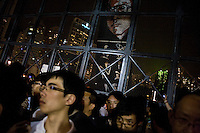 The portrait of the detained chinese dissident Liu Xiaobo has been displayed during the vigil of Tiananmen crackdown in the Victory parc of Hong Kong, June 4th 2010. A recorded message from his wife Liu Xia was played during the vigil. Liu Xiaobo is one of the most famous dissident in China, he has been condemned to 11 years of jail at 2009 Christmas Day after the publication of the  Charter 08, asking for more democratic reforms in China.