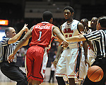 "Rutgers' Jerome Seagears (1) and Ole Miss' Aaron Jones (34) scuffle at the C.M. ""Tad"" Smith Coliseum in Oxford, Miss. on Saturday, December 1, 2012. (AP Photo/Oxford Eagle, Bruce Newman).."