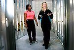 MIDDLEBURY, CT 01 December 2008-010109SV06--From left, Linda Clemons and Kimberly Johnston owners of a new women's only gym check out where the locker room will go at the Middlebury Edge building on Straits Turnpike in Middlebury Thursday.<br /> Steven Valenti Republican-American