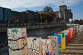 Berlin, Germany<br /> November 7, 2009<br /> <br /> A massive domino wall is placed from the Brandenburger Tor to Potsdamer Platz in preparation for the 20th anniversary of the fall of the Berlin Wall.<br /> <br /> On November 9, 2009 this wall will fall like dominos to celebrate the original fall on November 9, 1989. Workers here finish off the wall at Potsdamer Platz.