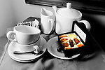 Breakfast set Tea coffee chocolates milk Keats Green Hotel Shanklin Photographs of the Isle of Wight by photographer Patrick Eden