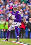 19 October 2014: Minnesota Vikings quarterback Teddy Bridgewater looks for a receiver during the opening drive against the Buffalo Bills at Ralph Wilson Stadium in Orchard Park, NY. The Bills defeated the Vikings 17-16 in a dramatic, last minute, comeback touchdown drive. Mandatory Credit: Ed Wolfstein Photo *** RAW (NEF) Image File Available ***