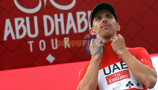 Rui Coata (POR) UAE Abu Dhabi team takes over the race lead after winning Stage 3 Al Maryah Island Stage of the 2017 Abu Dhabi Tour, starting at Al Ain and running 186km to the mountain top finish at Jebel Hafeet, Abu Dhabi. 25th February 2017<br /> Picture: ANSA/Matteo Bazzi | Newsfile<br /> <br /> <br /> All photos usage must carry mandatory copyright credit (&copy; Newsfile | ANSA)