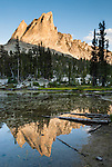 The pyramidal peak of El Capitan (9846 feet or 3001 elevation) reflects in the outlet stream of Alice Lake (Pettit Lake Creek) in Sawtooth Wilderness, Blaine County, Idaho, USA. The Sawtooth Range (part of the Rocky Mountains) are made of pink granite of the 50 million year old Sawtooth batholith. Sawtooth Wilderness, managed by the US Forest Service within Sawtooth National Recreation Area, has some of the best air quality in the lower 48 states (says the US EPA).