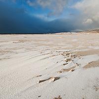 Snow on Luskentyre beach, Isle of Harris, Outer Hebrides, Scotland