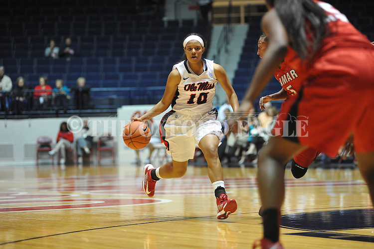 "Ole Miss' Diara Moore (10) vs. Lamar in women's college basketball at the C.M. ""Tad"" Smith Coliseum in Oxford, Miss. on Monday, November 19, 2012.  Lamar won 85-71."