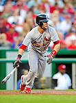28 August 2010: St. Louis Cardinals outfielder Skip Schumaker in action against the Washington Nationals at Nationals Park in Washington, DC. The Nationals defeated the Cards 14-5 to take the third game of their 4-game series. Mandatory Credit: Ed Wolfstein Photo