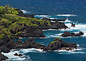 Rugged lava shoreline at Kipahulu; Hana coast, Maui, Hawaii.
