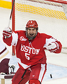 Chad Krys (BU - 5) - The visiting Boston University Terriers defeated the Boston College Eagles 3-0 on Monday, January 16, 2017, at Kelley Rink in Conte Forum in Chestnut Hill, Massachusetts.