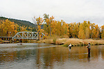 Autumn fly fishing scene across the Coeur d'Alene River.