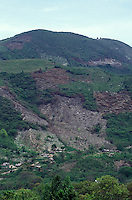 Deforested and eroded hillsides with small farms at their base, western part of the Dominican Republic