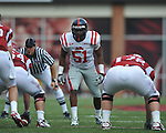 Ole Miss linebacker Jonathan Cornell (51) at Reynolds Razorback Stadium in Fayetteville, Ark. on Saturday, October 23, 2010.