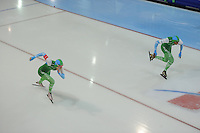 SCHAATSEN: GRONINGEN: Sportcentrum Kardinge, 17-01-2015, KPN NK Sprint, Bo van der Werff, Anice Das, ©foto Martin de Jong