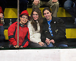 30 November 2009: Catamount fans (left to right) Josh and Shana Wolfstein, with Alexis Jackson, take in the Yale University Bulldogs visiting the University of Vermont Catamounts at Gutterson Fieldhouse in Burlington, Vermont. The Bulldogs fell to the Catamounts 1-0 in a close rematch of last season's first round of the NCAA post-season playoff Tournament. Mandatory Credit: Ed Wolfstein Photo