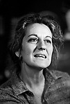 Germaine Greer, at home London 1980s.<br /> <br /> My ref /4561/1980s,