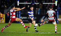 Rhys Priestland of Bath Rugby grubbers the ball. Anglo-Welsh Cup match, between Bath Rugby and Gloucester Rugby on January 27, 2017 at the Recreation Ground in Bath, England. Photo by: Patrick Khachfe / Onside Images