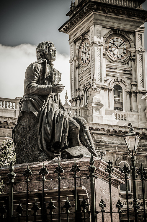 Architectural detail of the Municipal Chambers and Robbie Burns Statue, Dunedin CIty, New Zealand (toned Image) - stock photo, canvas, fine art print
